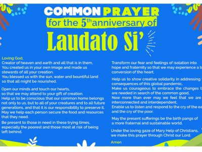 5th anniversary of Laudato Si, the encyclical of Pope Francis